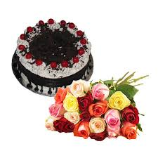 21 mix roses with 1 kg black forest cake