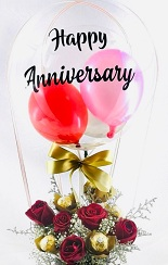 Happy anniversary transparent printed transparent balloon with 2 pink balloons and 6 roses arrangement and 4 ferrero