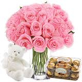 16 ferrero chocolates 20 pink roses vase and teddy bear