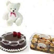 Teddy, Box of 16 Pieces Ferrero Rocher and Chocolates 1/2 Kg cake