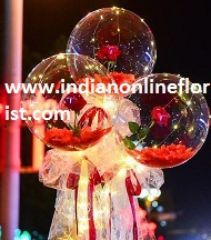 3 Red rose in 3 transparent balloon red white wrapping arrangement