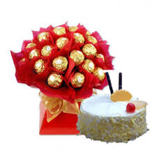 16 ferrero rocher bouquet with 1/2 kg cake
