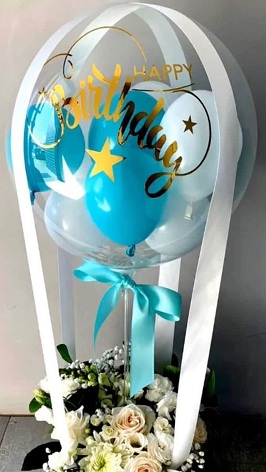 Happy Birthday printed Balloon with 20 flowers balloon filled with blue white balloon