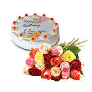 12 roses and 1/2 kg cake
