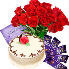 12 mix roses 4 silk chocolates card and 1/2 kg cake