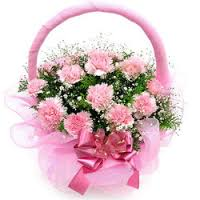10 carnations in a basket THIS PRODUCT AVAILABLE IN MAJOR CITIES ONLY
