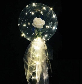 Clear transparent bubble with white rose white wrapping