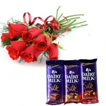 Six red roses bouquet with Three Cadburys Silk Chocolates