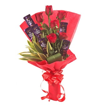 6 dairy milk chocolates with 6 Red Rose in the same bouquet