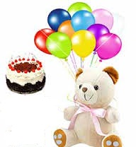 1/2 kg cake 1 feet teddy with 12 air filled balloons