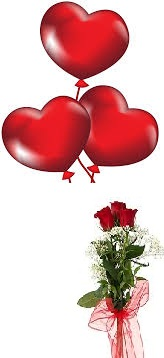 3 Air Blown red heart Balloons with 3 red roses
