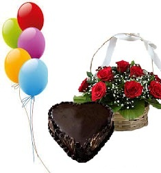Heart Shaped chocolate Cake 1 kg 5 balloons 12 red roses basket