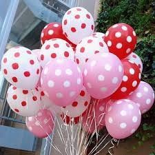 50 polka dot air blown balloons