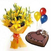 3 Air Filled Balloons with 8 Yellow Lili bouquet and 1 Kg chocolate heart cake