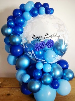 30 small and big blue balloons arch with flowers and happy birthday organic clear balloon