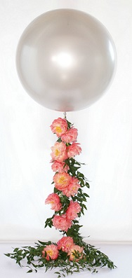 1 bubble balloons with trailing pink flowers