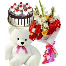 12 mix flowers 1 feet teddy 1/2 kg black forest