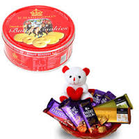 Teddy 10 silk chocolates in a decorated basket danish butter cookies