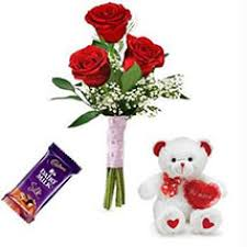 3 roses with teddy and 1 silk chocolate