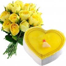 12 Yellow roses with 1 Kg Lemon cake Heart shape