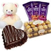 1 kg heart chocolate cake 16 ferrero 6 inch teddy 3 silk bars