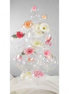 8 Transparent Air Blown Balloons  with pink and red roses inside