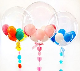 3 bubble transparent balloon with coloured balloons inside
