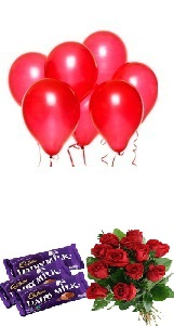5 Red Balloons 6 Red roses 3 Dairy Milk