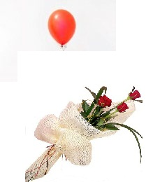 1 Air Blown Red Balloon with 3 Red roses