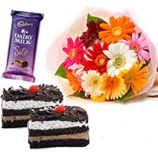 3 silk bars 2 pastries 12 gerberas