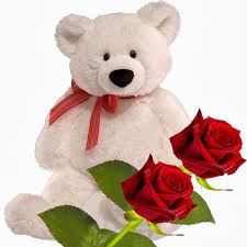 1 feet teddy bear with 2 red roses