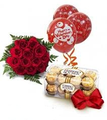 12 roses 16 ferrero rocher chocolate 3 red balloons