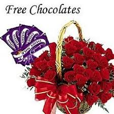 24 roses basket with 5 free silk bubbly chocolates