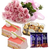3 silk bars 2 pastries 12 roses and 16 ferrero rocher