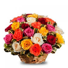 60 mix roses flowers basket
