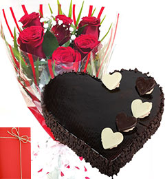 Six red roses with Card and 1 Kg chocolate heart shaped cake