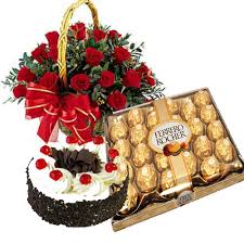 1/2 kg black forest 24 ferrero rocher 20 red roses basket