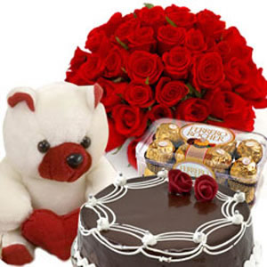 Ferrero Rocher chocolates 16 pieces 1/2 Kg chocolate Cake 12 Red roses Teddy