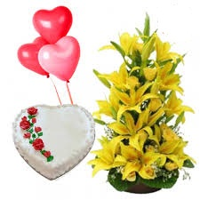 Lilies basket and 1 kg heart cake with 3 heart balloons