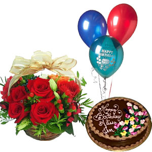 Dozen Red Roses With 3 Balloons And 2 Pound Cake