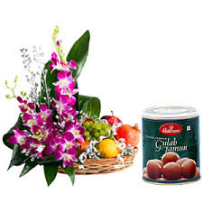 Basket of orchids with fruit and 1 kilo gulab jamun