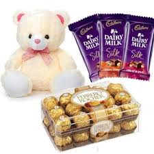 16 ferrero rocher with teddy and 3 silk chocolates