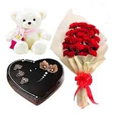 12 red roses 1 kg heart cake and teddy bear 6 inch