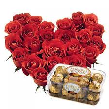 16 ferrero rocher with 24 roses heart