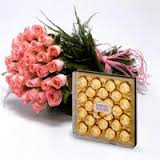 20 pink roses and 24 ferrero rocher box