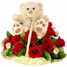 12 red roses basket with teddy 6 inch all in a basket