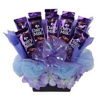 10 silk chocolates in a decorated basket