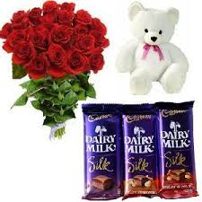 12 roses teddy and 3 silk chocolates