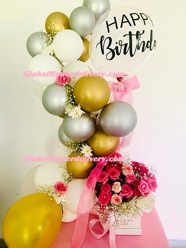 Custom made happy birthday metallic balloons white gold silver with box of flowers