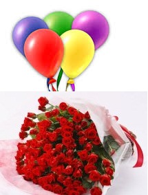 5 Air Blown Balloons with 24 Red roses bouquet